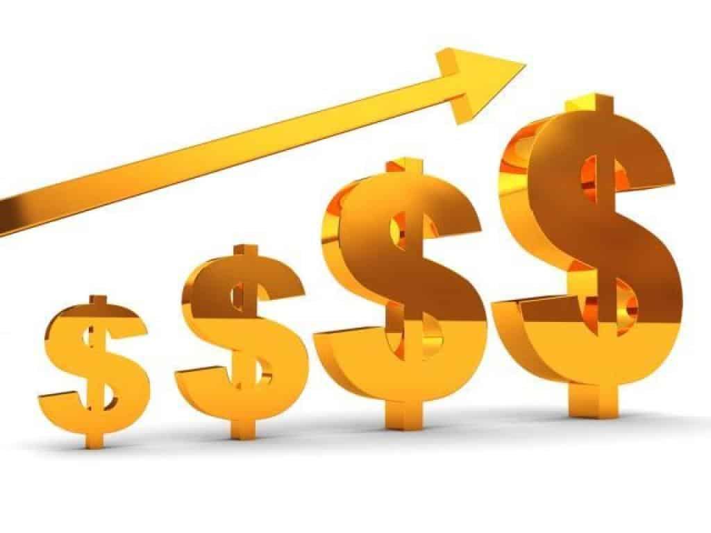 signos de dólar en orden ascendente