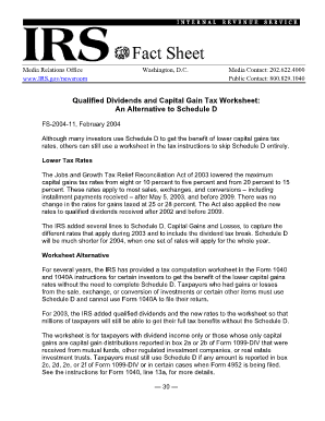Qualified Dividends and Capital Gain Tax Worksheet - Line 44
