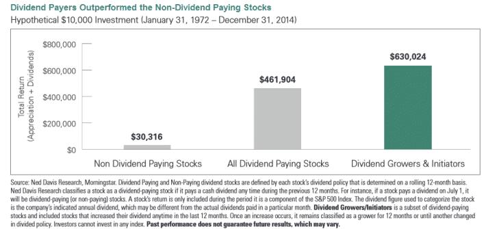 grafico crecimiento de dividendo en acciones