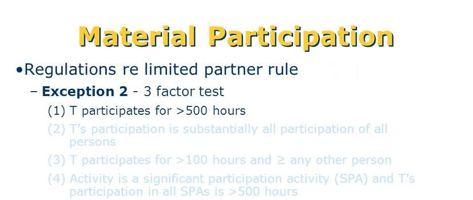 how the IRS tests for material participation in a business