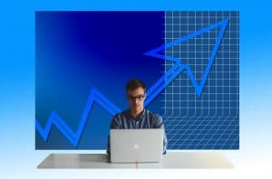 entrepreneur monitoring stock market